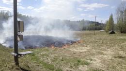 Palo levisi nopeasti kuivassa heinässä. Kuva: Marja Kupari