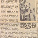 Artikkeli Soini Nikkisen maailmanennätyksestä Kuhmoisten Sanomissa 30.6.1956 (1/2)