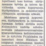 Juttu Soini Nikkisen maailmanennätyksen merkityksestä Kuhmoisten Sanomissa 30.6.1956 (1/3)