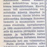 Juttu Soini Nikkisen maailmanennätyksen merkityksestä Kuhmoisten Sanomissa 30.6.1956 (2/3)